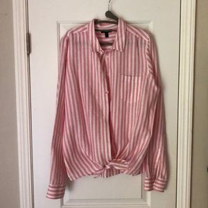 J crew front tie pink and white striped shirt.